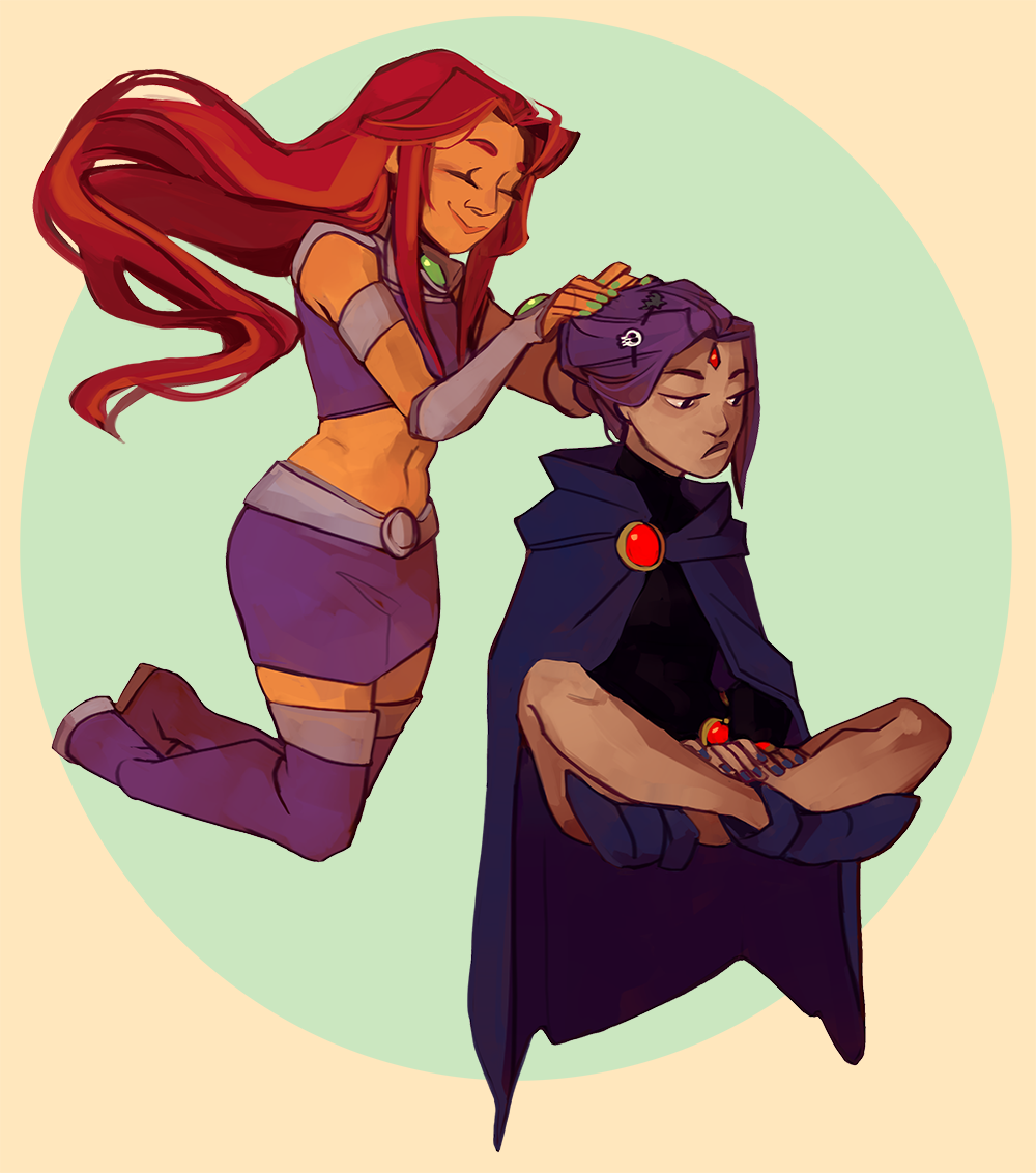 Starfire And Raven  Marvel And Dc  Teen Titans, Original -3182