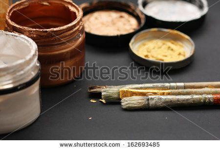 Brushes and paint jars