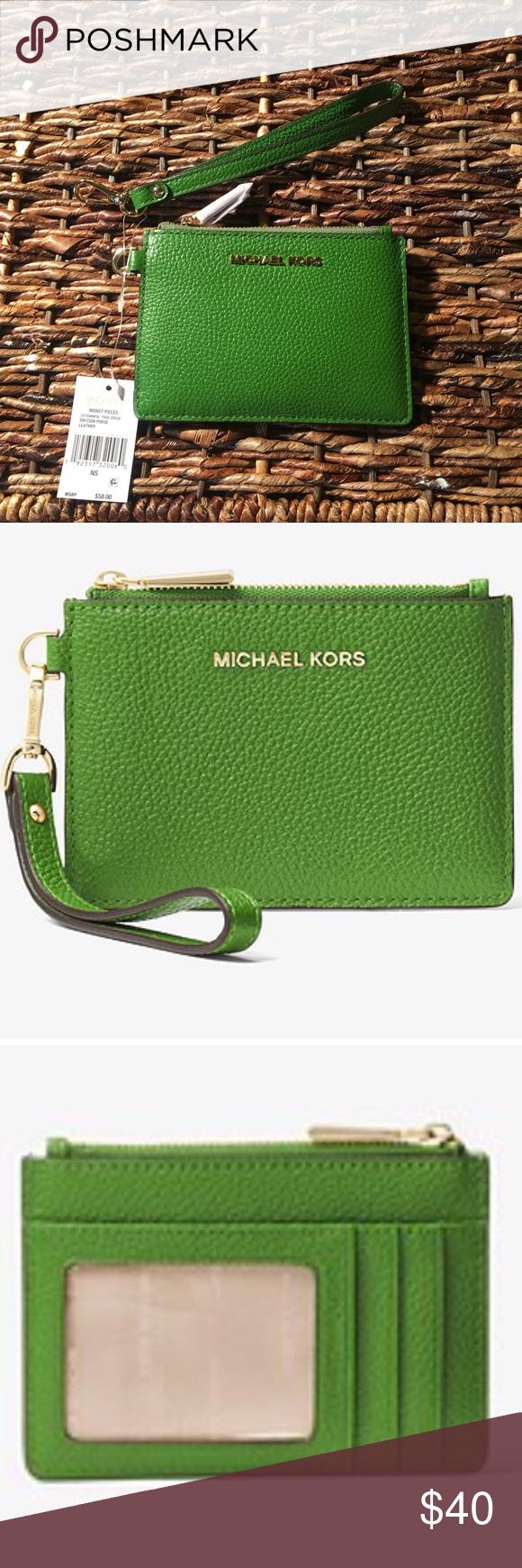 029524e7b071 Michael Michael Kors Mercer Leather Coin Purse True Green Mercer coin purse  has 3 card slots