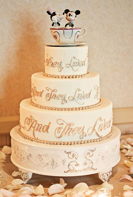 disney wedding cake with teacup topper