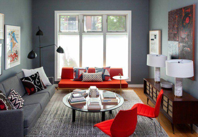 salon moderne en gris et rouge | Red couch living room ...