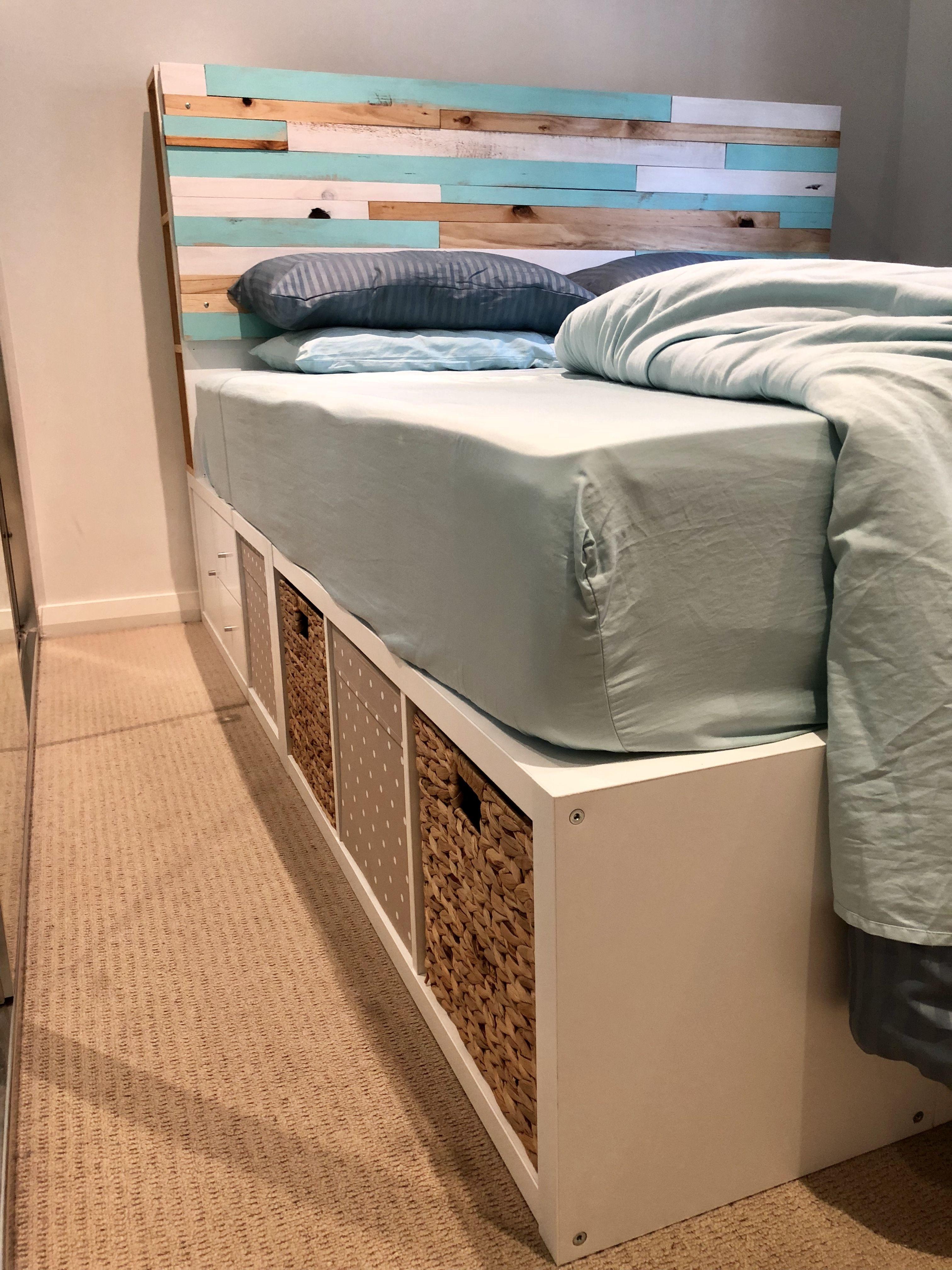 My Diy Custom Timber Headboard Ikea Kallax Hack King Size Bed