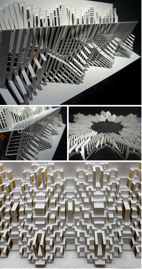 Cut and folded paper is a very effective way to create shadows. Aesthetically pleasing to the eye - but very complex model.                                                                                                                                                     More