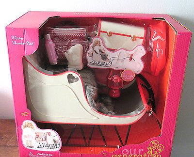 """Our Generation Winter Wonder Sled Christmas Sleigh fits 18/"""" American Girl Doll"""