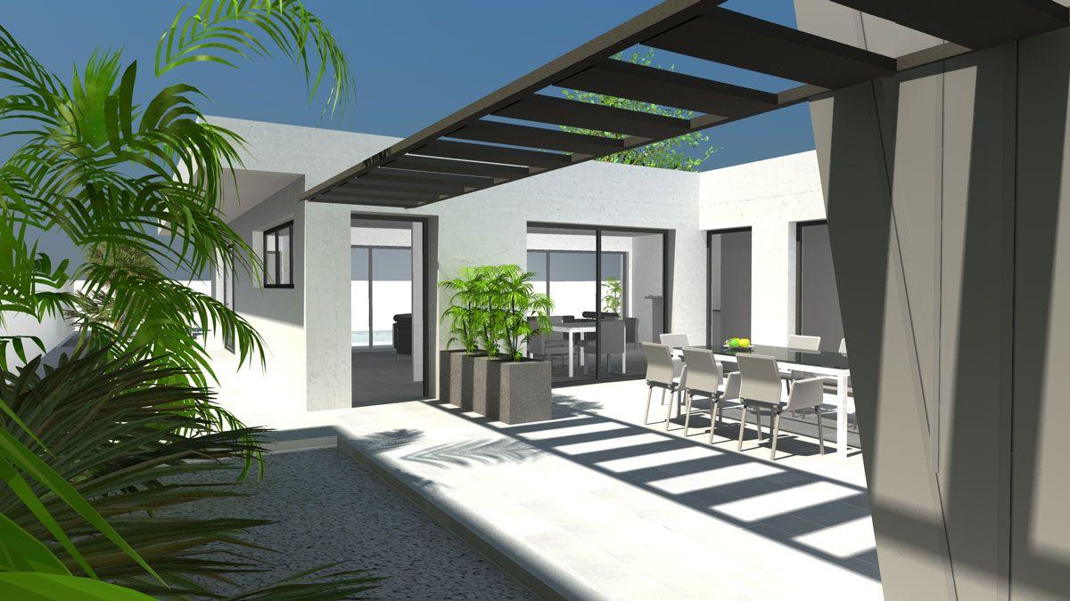 Maison Moderne Avec Patio Interieur plan maison architecte - maison de ville à patio intérieur