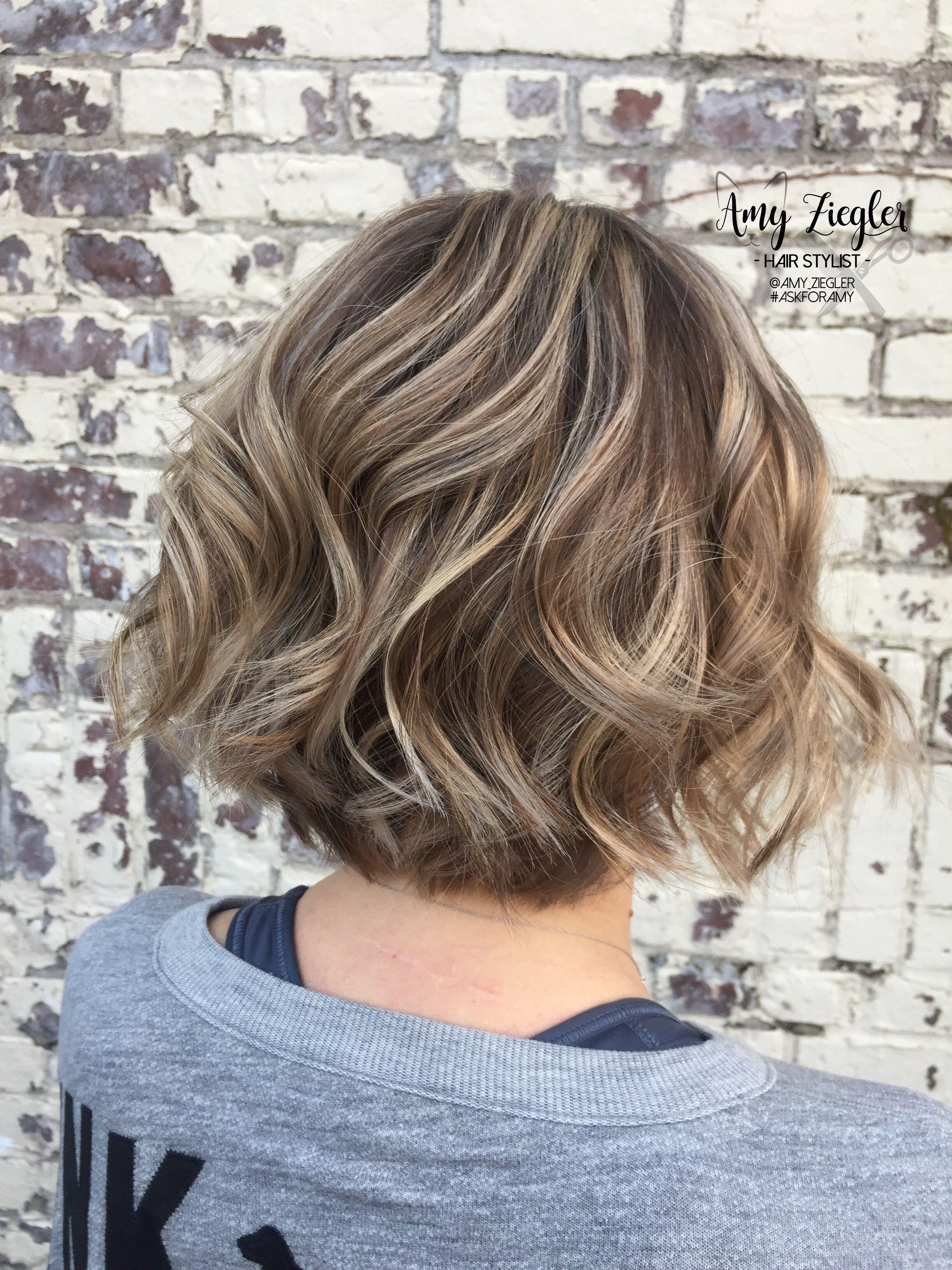 Blonde Highlight Lowlight And Short Textured Bob By Amy Ziegler