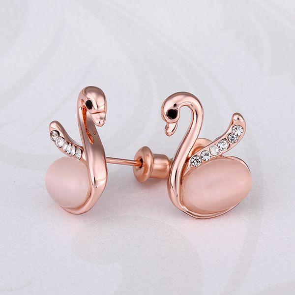 Arlumi 18K Rose Gold Plated Zircon Opal Swan Earrings E900