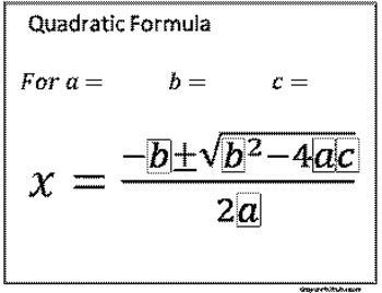 Quadratic Formula Dry Erase Laminate Template (With images