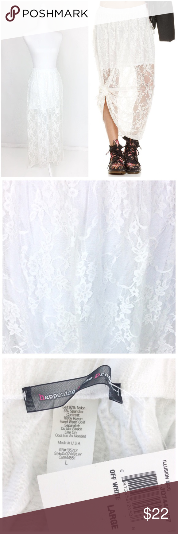 """Must Have! Lace Illusion Maxi Medium/Large Off white lace illusion maxi skirt. Lined in soft knit to above the knee. Soft lace. Very light and airy. Elastic waist. Great wardrobe staple wear with almost anything. Dress it up or down. Wear it to the beach or to dinner. Lightweight and great to pack for your summer adventures. Wear it when transitioning into fall with boots and jackets. Hand wash. Could fit a medium as well as a large. Laying flat the waist measures 14 1/2"""" across the waist…"""