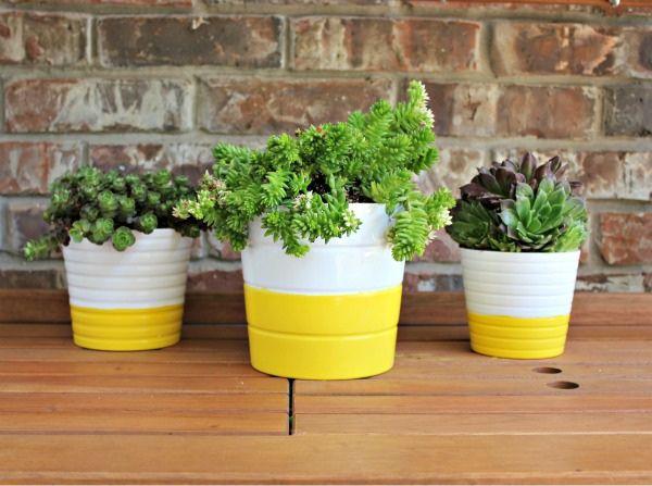 DIY Striped Pots