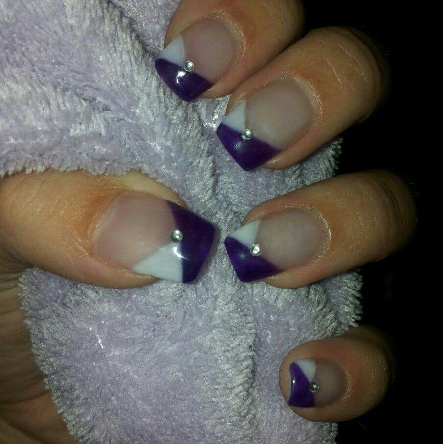Nageldesign lila weiß spitzen nail art | haare | Pinterest ...