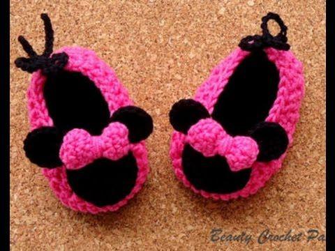 Zapatitos de Minnie mouse tejidos a crochet | 0-3 meses - YouTube ...