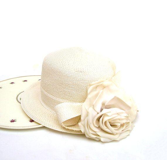 69d1c92d8e6 Vintage Frank Olive Hat Straw Boater Ivory by OceansideCastle ...