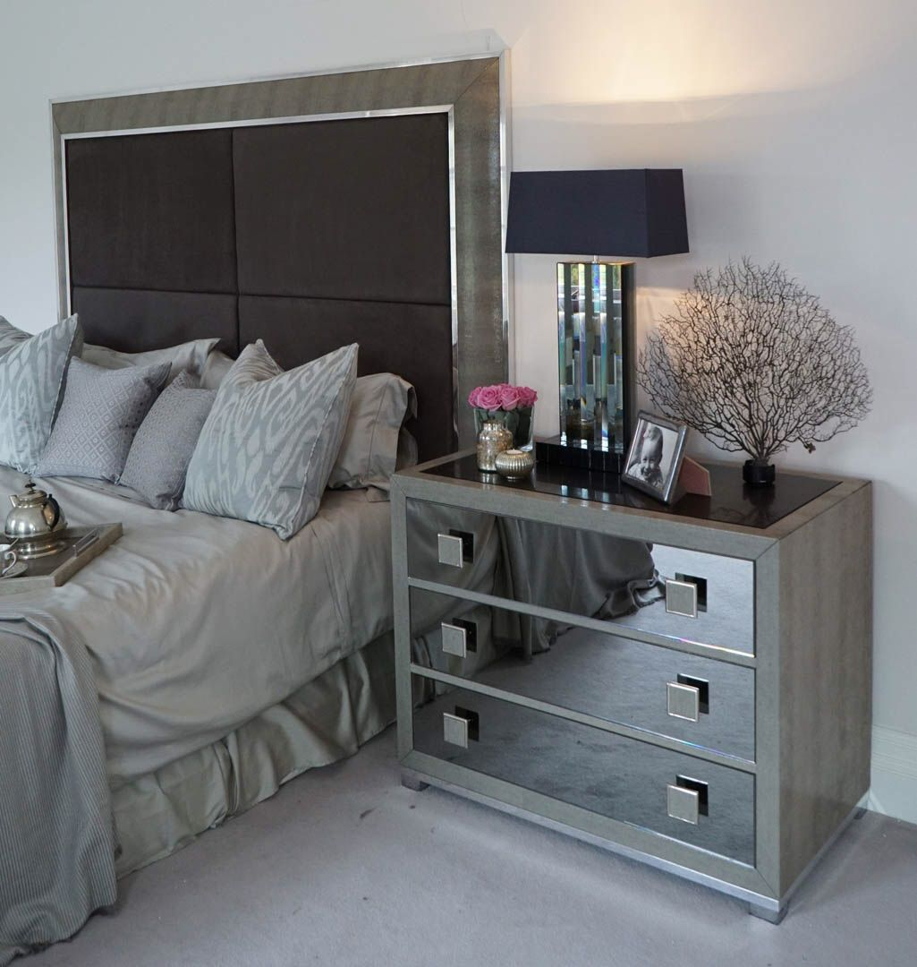 Headboard Double Bedside Table Contemporary Leather Bedside Unit With Smoked Mirrored Do Mirrored Bedroom Furniture Bedroom Interior Interior Design Bedroom