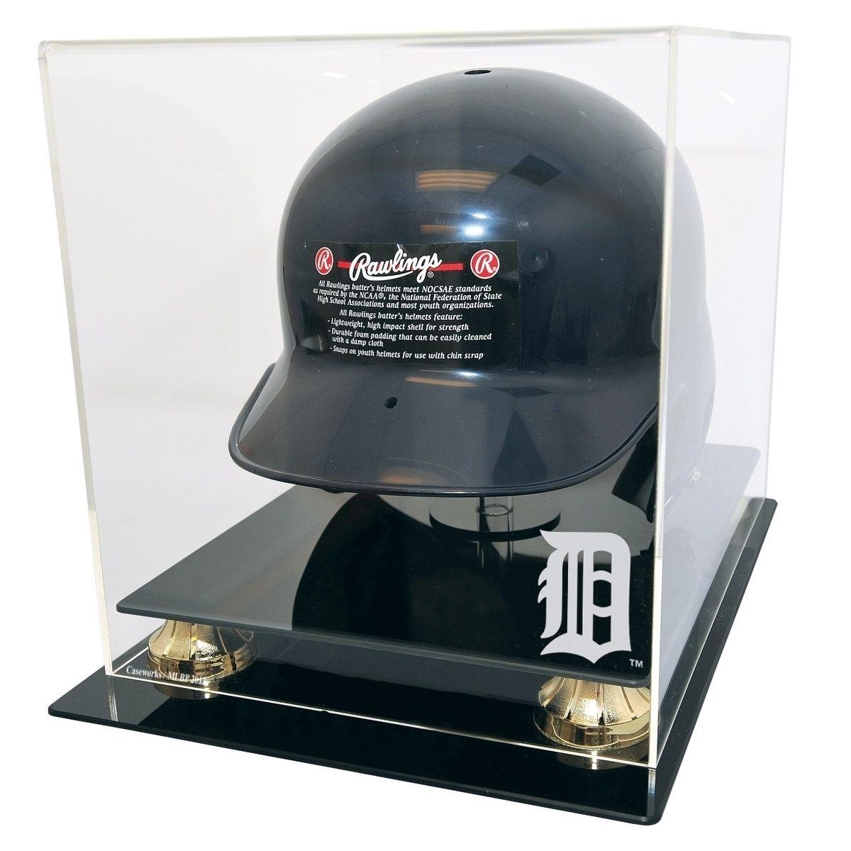 Detroit Tigers Full Size Batting Helmet Display From Mancavegiant Com Batting Helmet Helmet Baseball Helmet