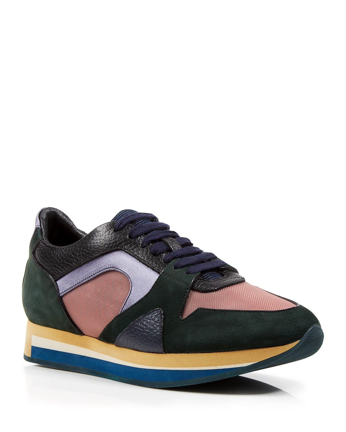 Burberry Lace Up Sneakers - The Field Color Block | Bloomingdale's