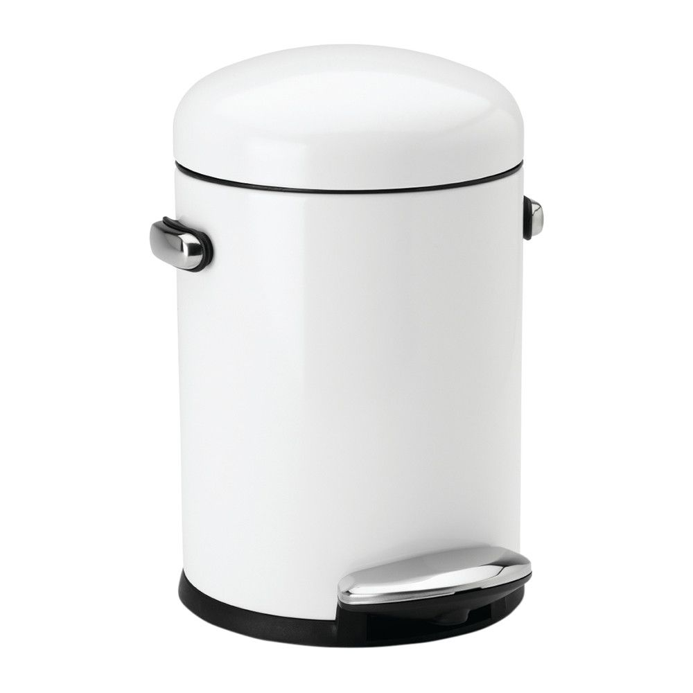 Simplehuman Retro Aanbieding.Buy Simplehuman Round Retro Steel Pedal Bin White 4 5l