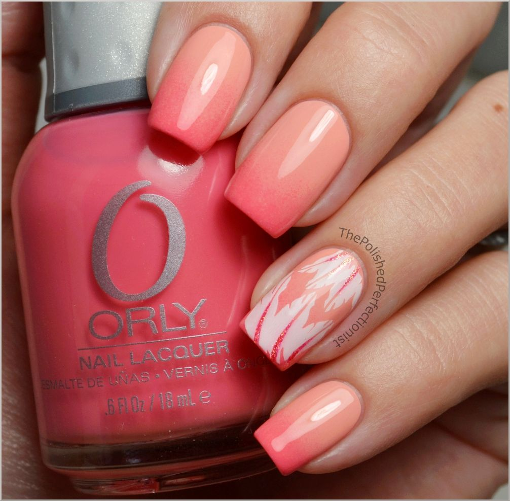 flamingo inspired nails! peach and coral ombre with white feather ...