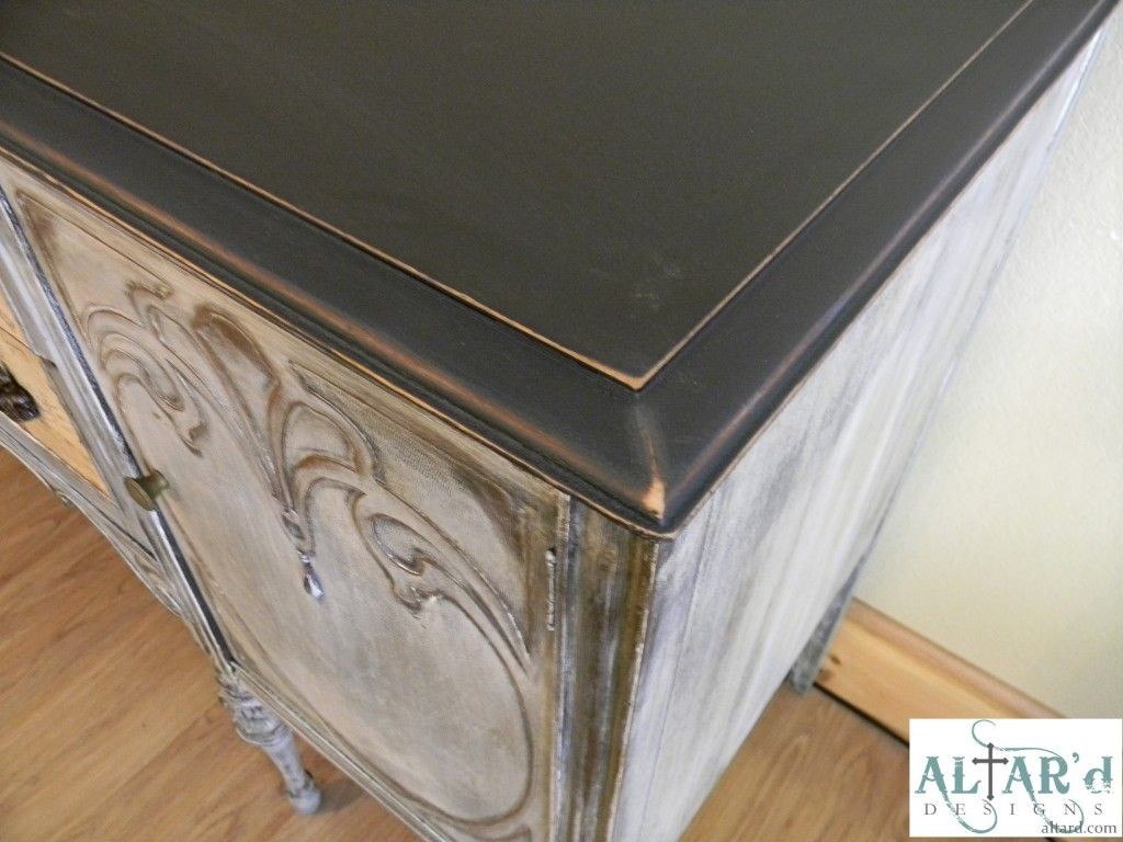 Black distressed top charcoal wash buffet repurposed furniture painted furniture distressed furniture