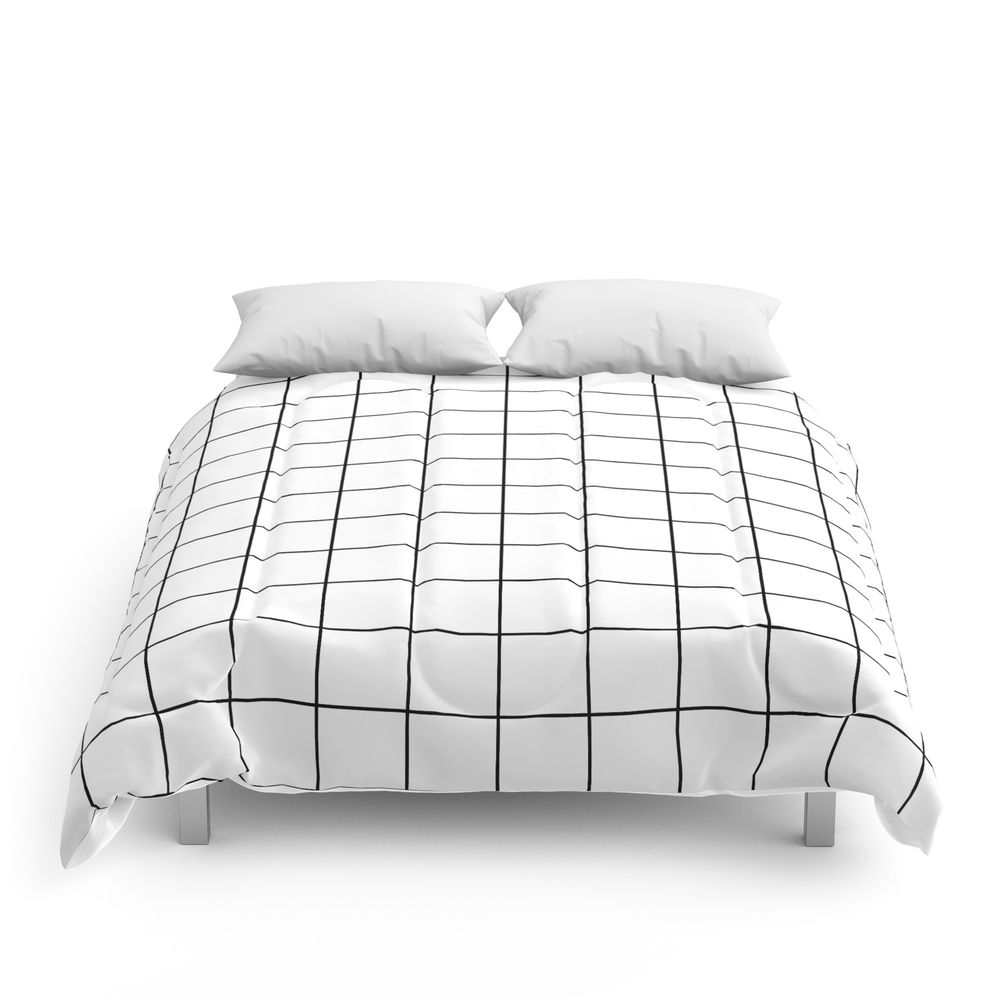 Photo of Grid Stripe Lines Black and White Minimalist Geometric Comforters by beautifulhomes