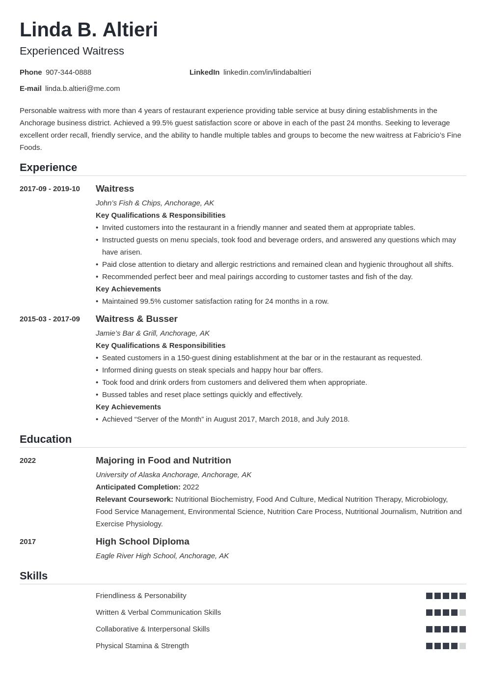 Waiter Waitress Resume Example Template Nanica Architect Resume Sample Resume Examples Job Resume Examples
