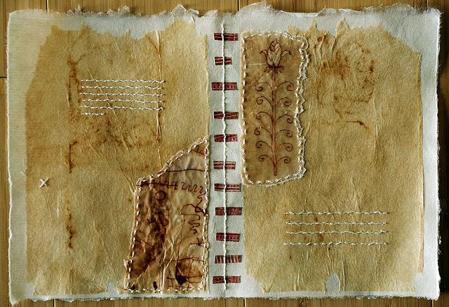 Patti Roberts-Pizzuto - Page from The Book of Tattered Fragments - collaged teabags, drawings on teabags dipped in beeswax and hand stitching on Japanese paper...another homage to the page of a book!