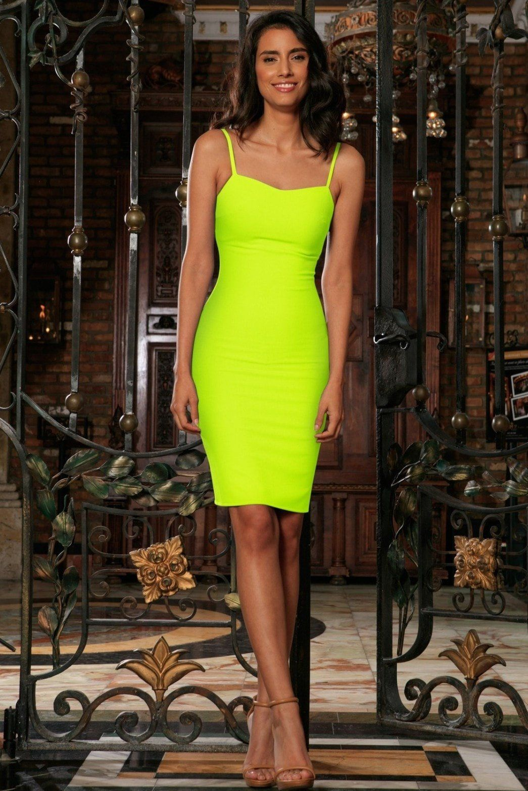 Neon Yellow Lime Green Stretchy Summer Trendy Bodycon Mini Dress - Women bfa3290223