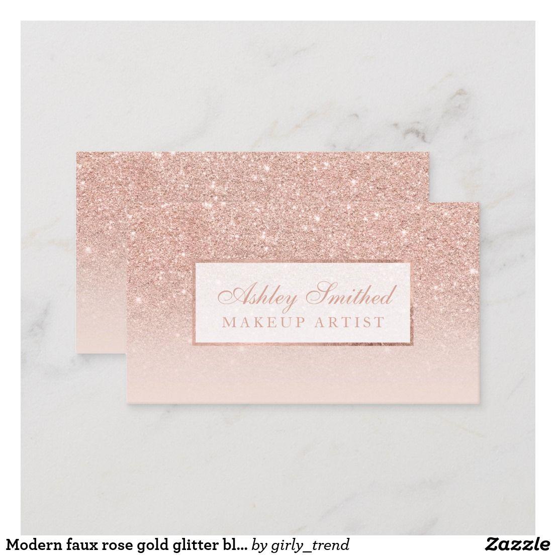 Moderner Imitat Rosen Goldglitter Erröten Ombre Visitenkarte