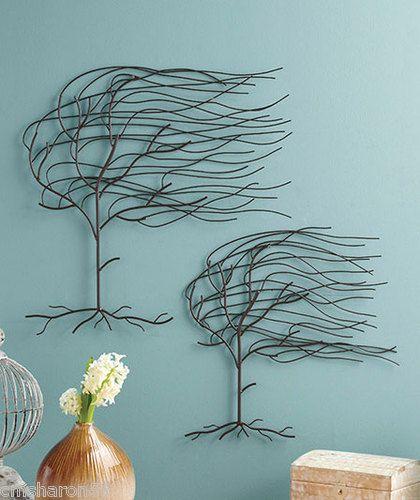 Set of 2 Whispering Willow Tree Metal Wall Art Hangings Blowing in ...
