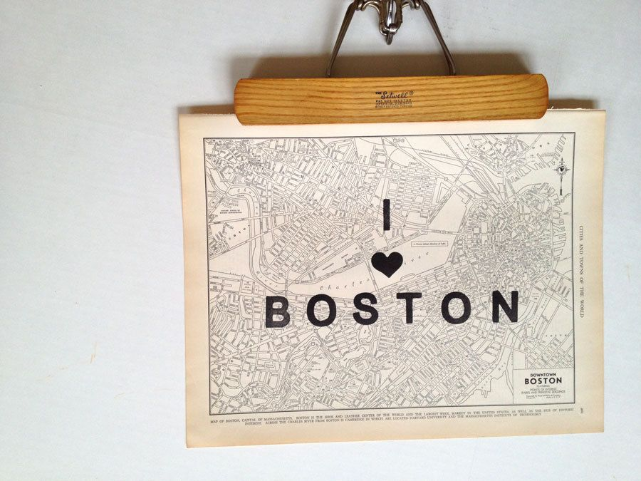 i heart my city....vintage map atlas page with hand-stamped art one of a kind BOSTON