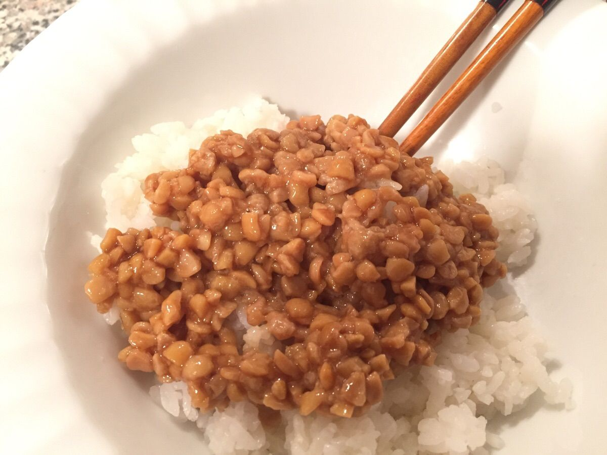 Simple japanese style breakfast natto and rice