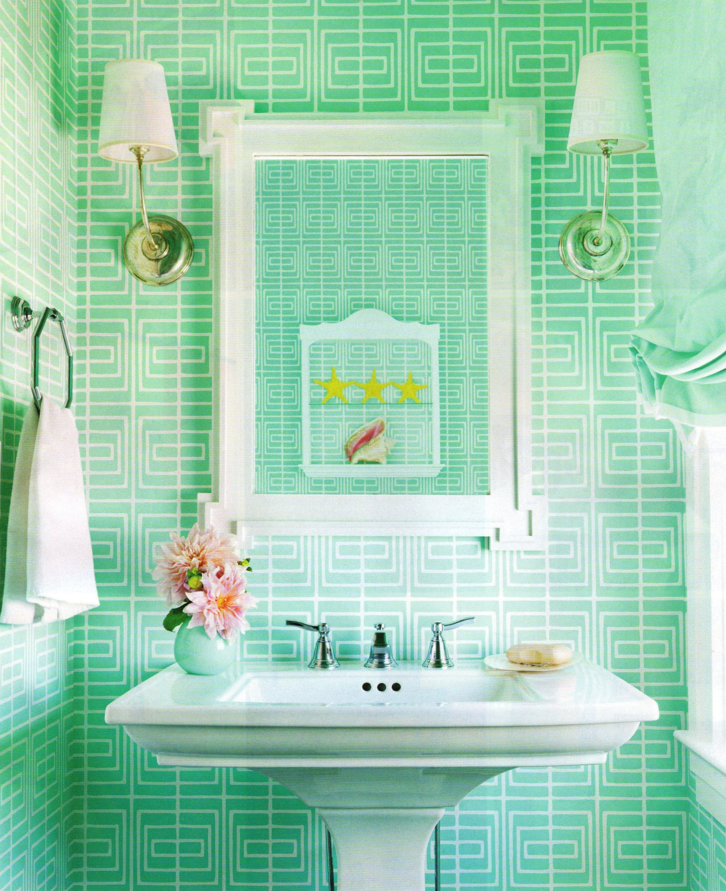bright green bathroom tiles bring a pretty pop of fun. #colors