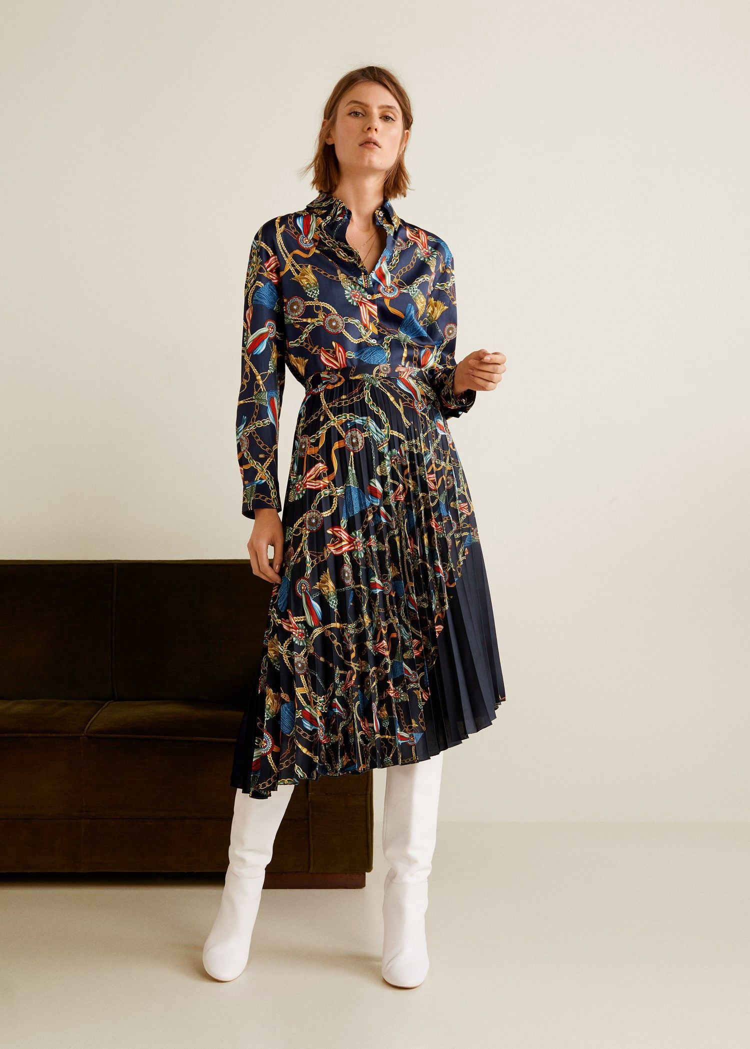 2b2e804e6 Mango Scarf Print Pleated Skirt - XXS in 2019   Products   Pleated ...