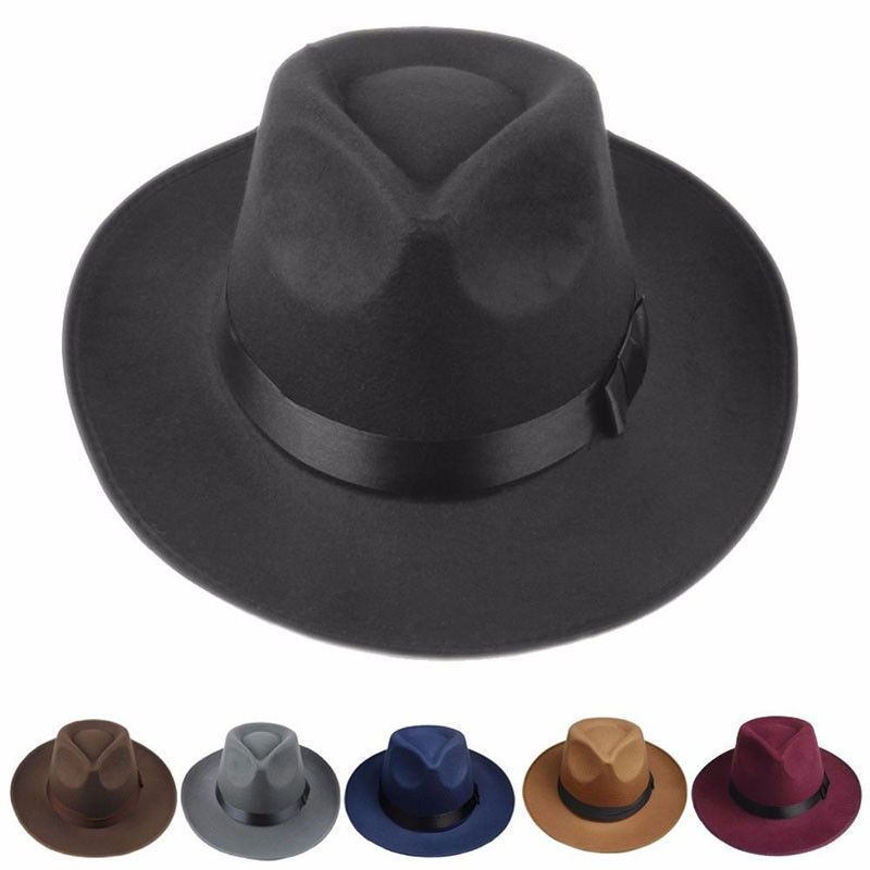 Men Women Hard Felt Hat Wide Brim Fedora Panama Hat Gangster Vintage Cap   ebay  Fashion 15edc38b535