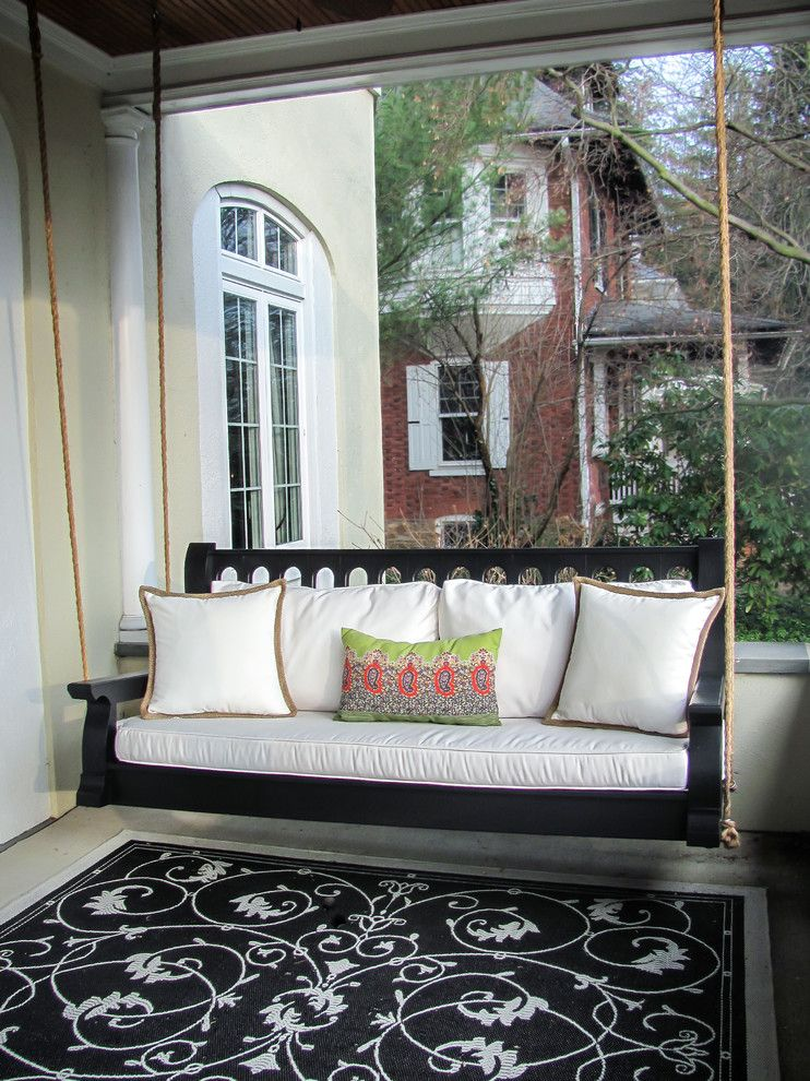 rope swing porch vintage porch classic front porch porch glider cushioned porch black flowery rug of Charming Small Porch Swing Ideas You Will Love
