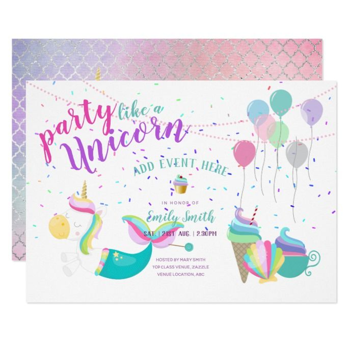 Unicorn Mermaid Princess Birthday Invitations Custom Babyshower