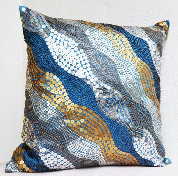 Blue throw pillows with silver, copper sequins - Silver pillow - Gold pillow - Sequin Throw ...