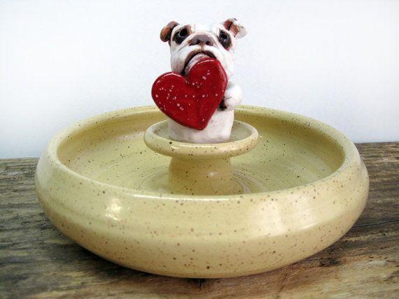 English Bulldog Pottery Candy Dish, English Bulldog Art, Blue ...