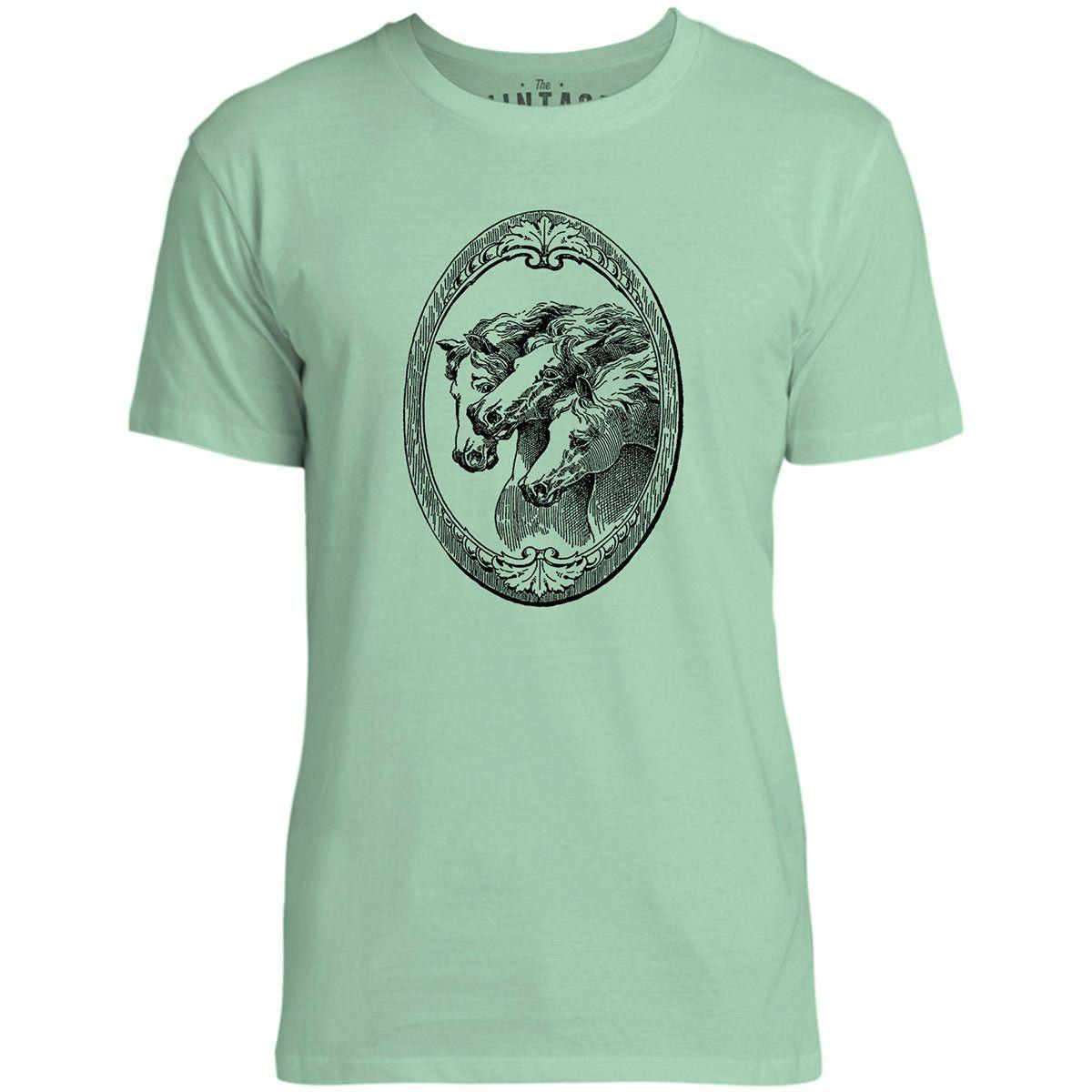 Mintage Shield of Horses Mens Fine Jersey T-Shirt (Mint)