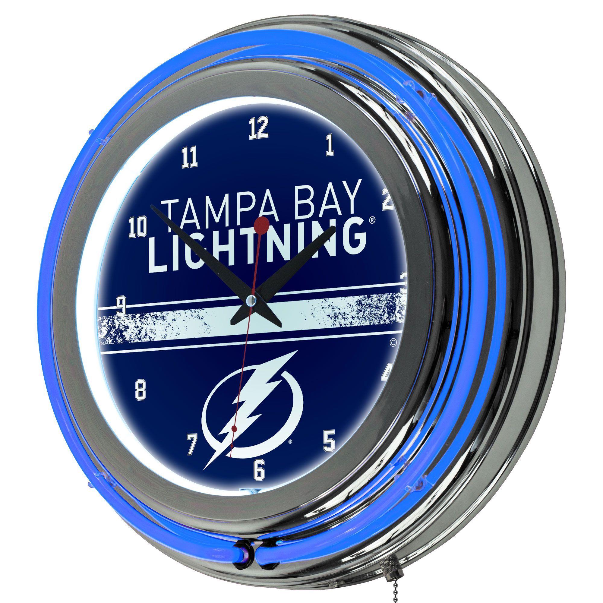 Trademark Gameroom NHL Grey Double Rung Neon Clock Tampa Bay