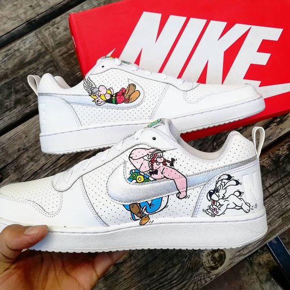 uk availability 07146 8166f Custom Nike court borough,Asterix   Obelix, custom sneakers , custom shoes  , custom nike ,custom kic