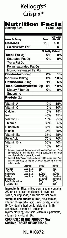 Kellogg 039 S Crispix Cereal Kellogg 039 S Inside Cereal Nutrition Label22707 Cereal Nutrition Cereal Nutrition Label Nutrition Labels