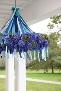 An idea. Would use a hula hoop & flowers & satin ribbon & twinkly lights. [Wedding Flowers | BRIDES Magazine. Picture describes using a wrea...