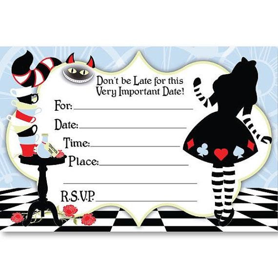 Alice In Wonderland Party Invitations By Jjscraftsshop On Etsy Alice In Wonderland Invitations Alice In Wonderland Party Wonderland Party Invitations