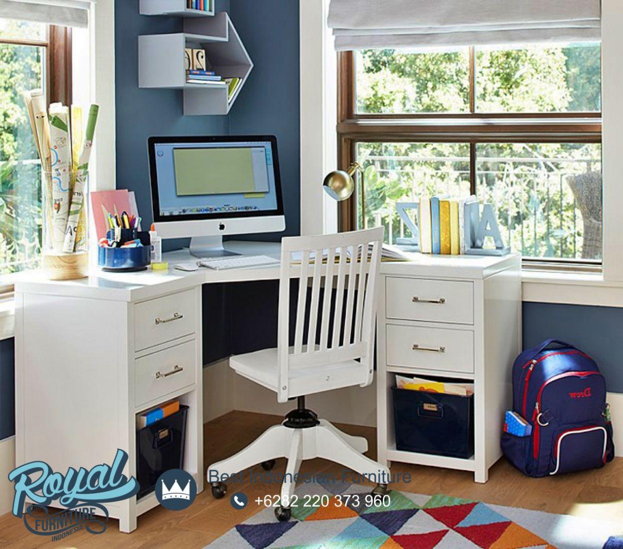 Meja Belajar Minimalis Sudut Kayu Jepara Putih Duco Royal Furniture Jepara Meja Belajar Meja Kayu Meja belajar sudut minimalis