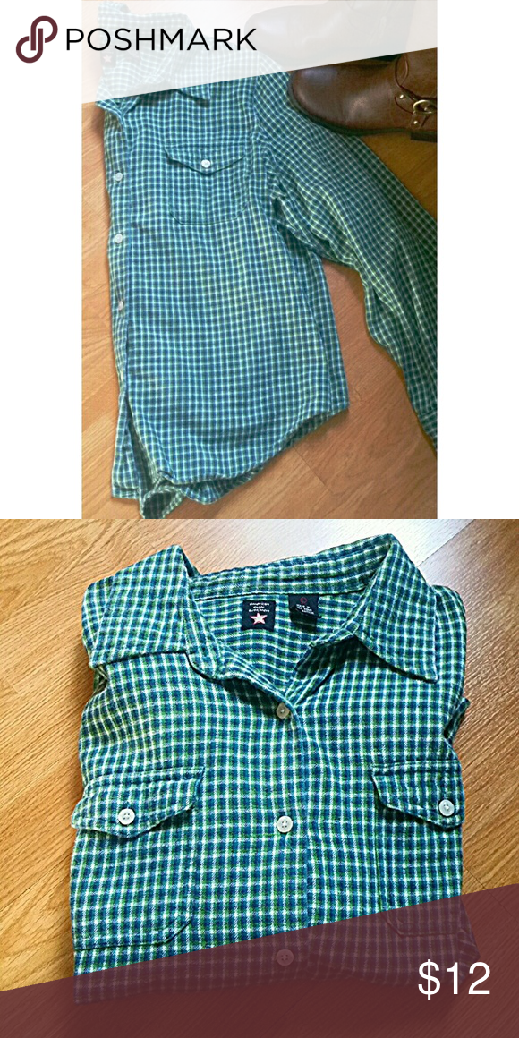 Vintage AE flannel shirt This shirt is great! Perfect condition. Soft and comfortable. Pretty shades of greens and blues. American Eagle Outfitters Tops Button Down Shirts