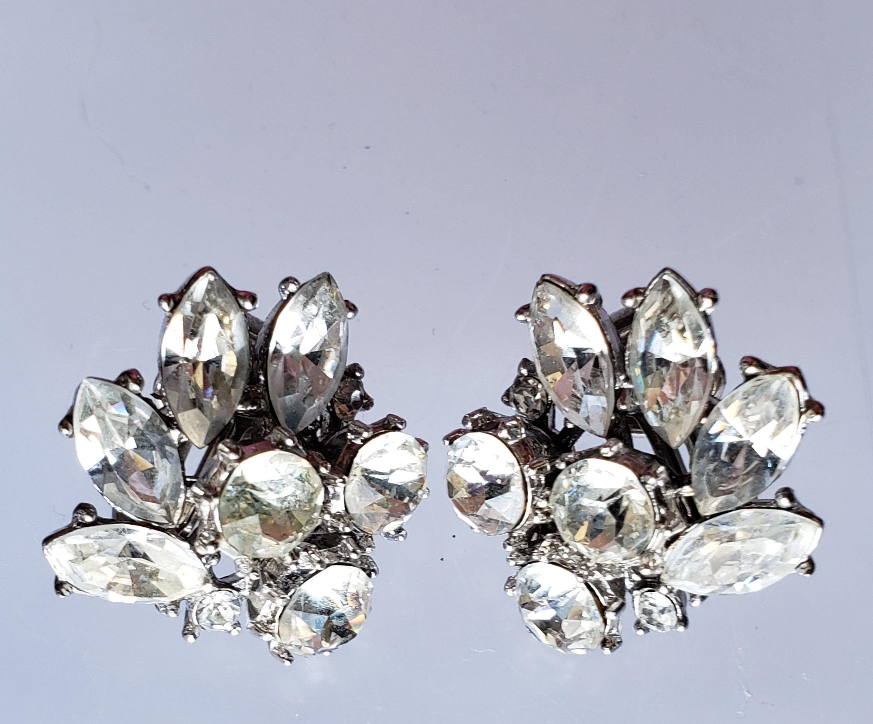 84d4894a7 Crown Trifari Rhinestone Clip On Earrings, Vintage Women's Costume Jewelry,  Bridal Jewelry