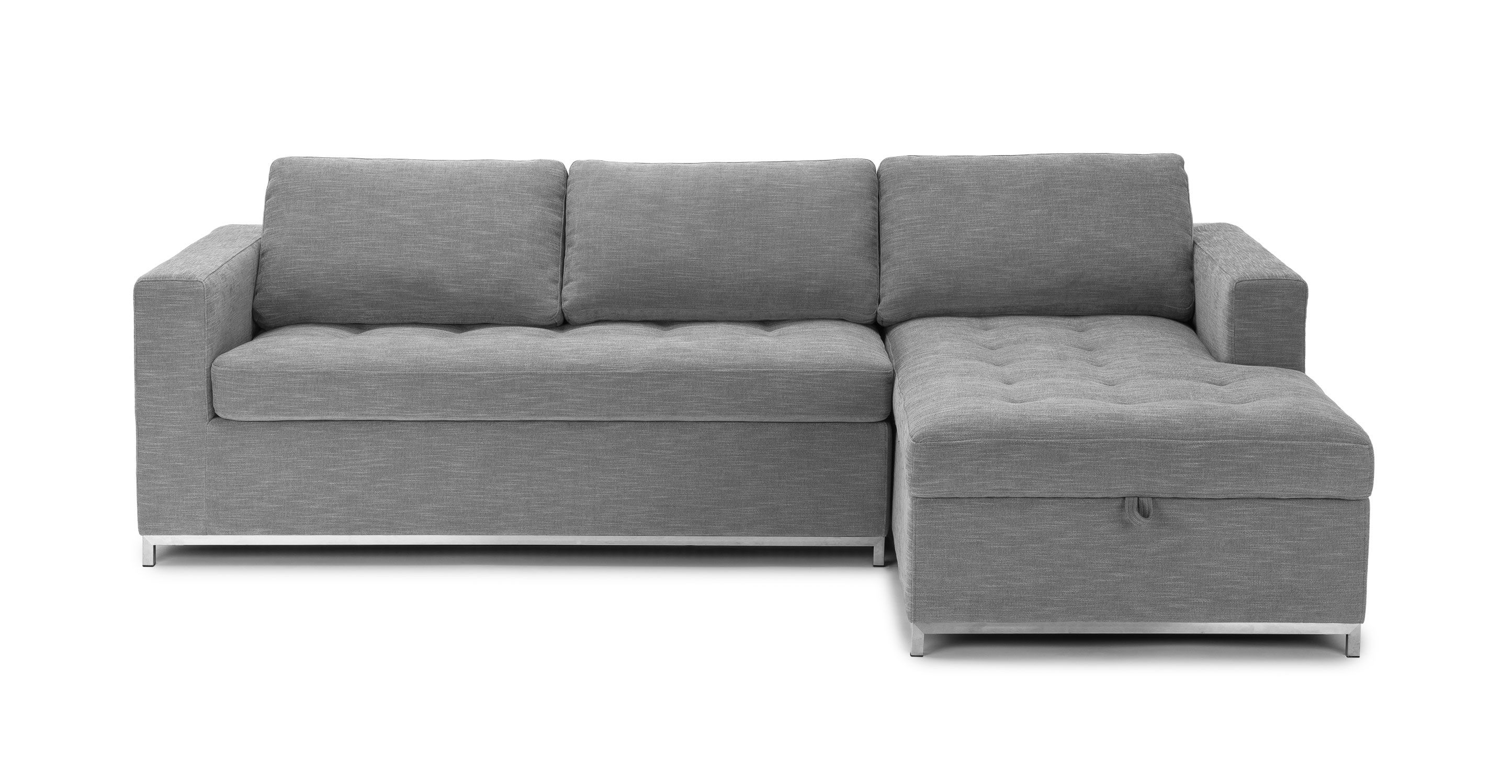 Gray Sofa Bed Right Sectional Metal Legs