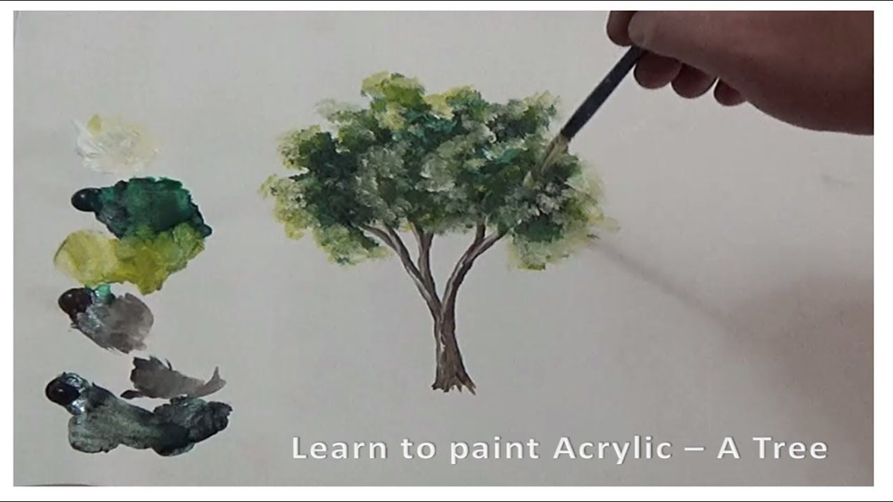 Learn To Paint Acrylic Tree Acrylic Painting تلعم رسم شجرة بالوان الاكريليك Youtube Herbs Tree Plants