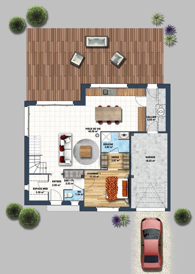 Maison contemporaine Treillières 44 house outlay Pinterest - Plan Maison Bois Gratuit